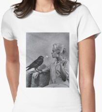 Tippi Hedren having her cigarette lit by a crow on the set of The Birds Women's Fitted T-Shirt