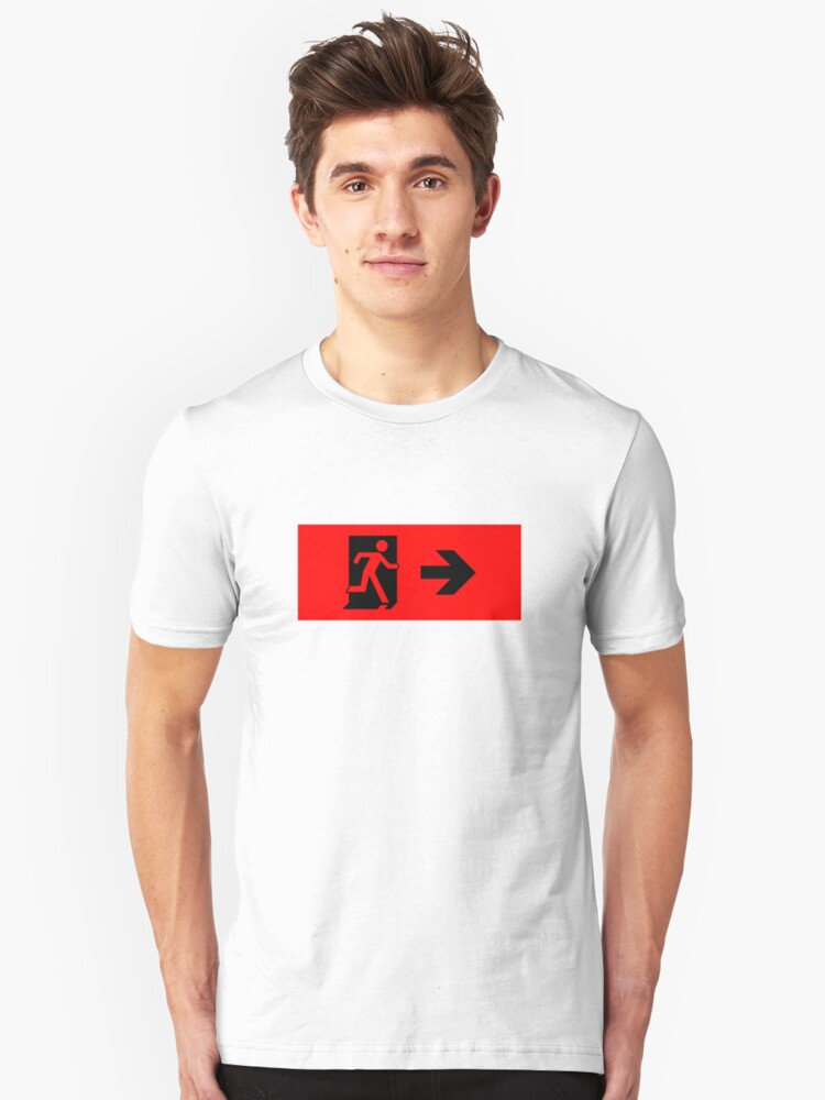Running Man Emergency Exit Sign, Right Hand Arrow Unisex T-Shirt Front