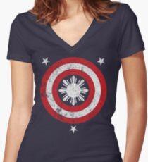 Captain Philippines! (Grunge White Sun) Women's Fitted V-Neck T-Shirt