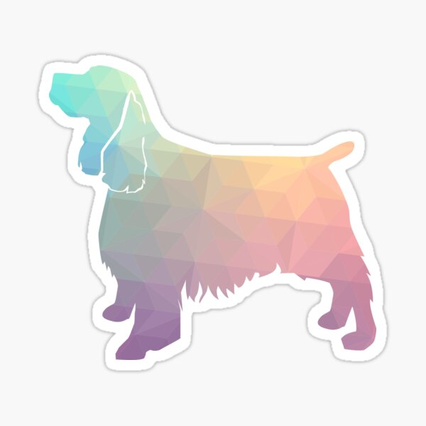 Springer Spaniel Dog Colorful Geometric Pattern Silhouette - Pastel Sticker