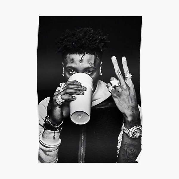 NBA YOUNGBOY BLACK  AND WHITE Poster
