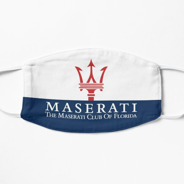 Masque Maserati Club of Florida-1 / Rouge & Bleu sur Blanc Masque sans plis