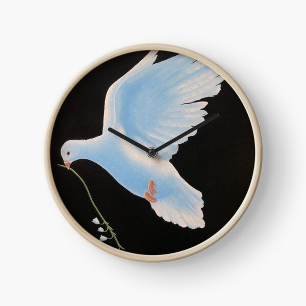 """""""dove"""" oil painting on canvas Clock"""