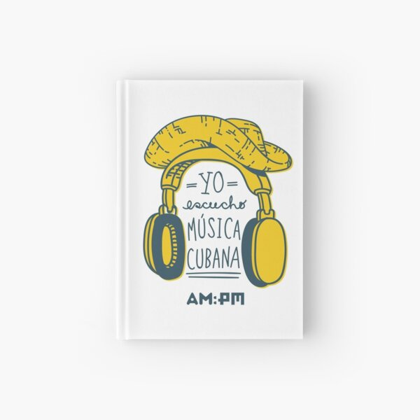 I listen to Cuban music (straw hat) Hardcover Journal