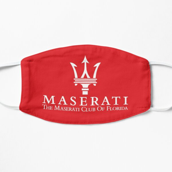 Masque Maserati Club of Florida-2 / Blanc sur Rouge Masque sans plis