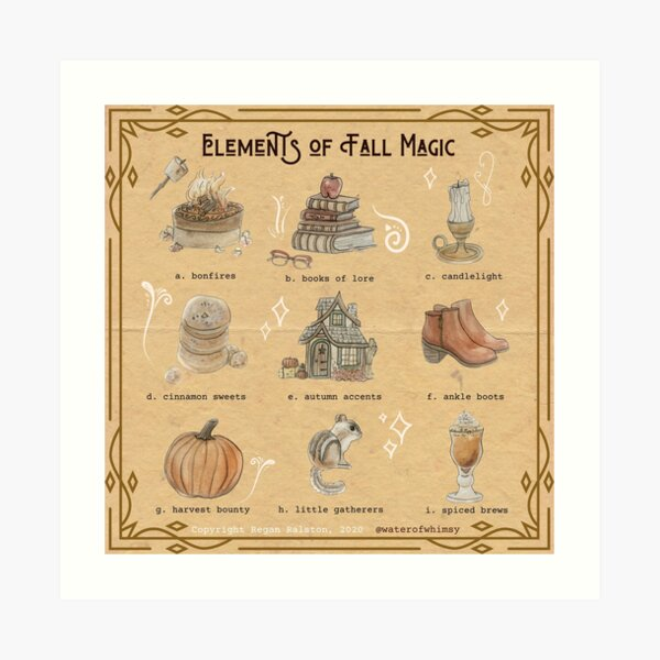 Elements of Fall Magic Illustration in Watercolor Art Print