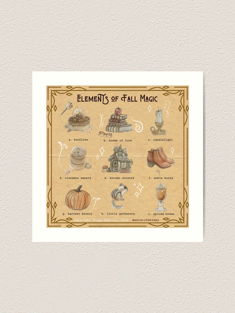 Alternate view of Elements of Fall Magic Illustration in Watercolor Art Print