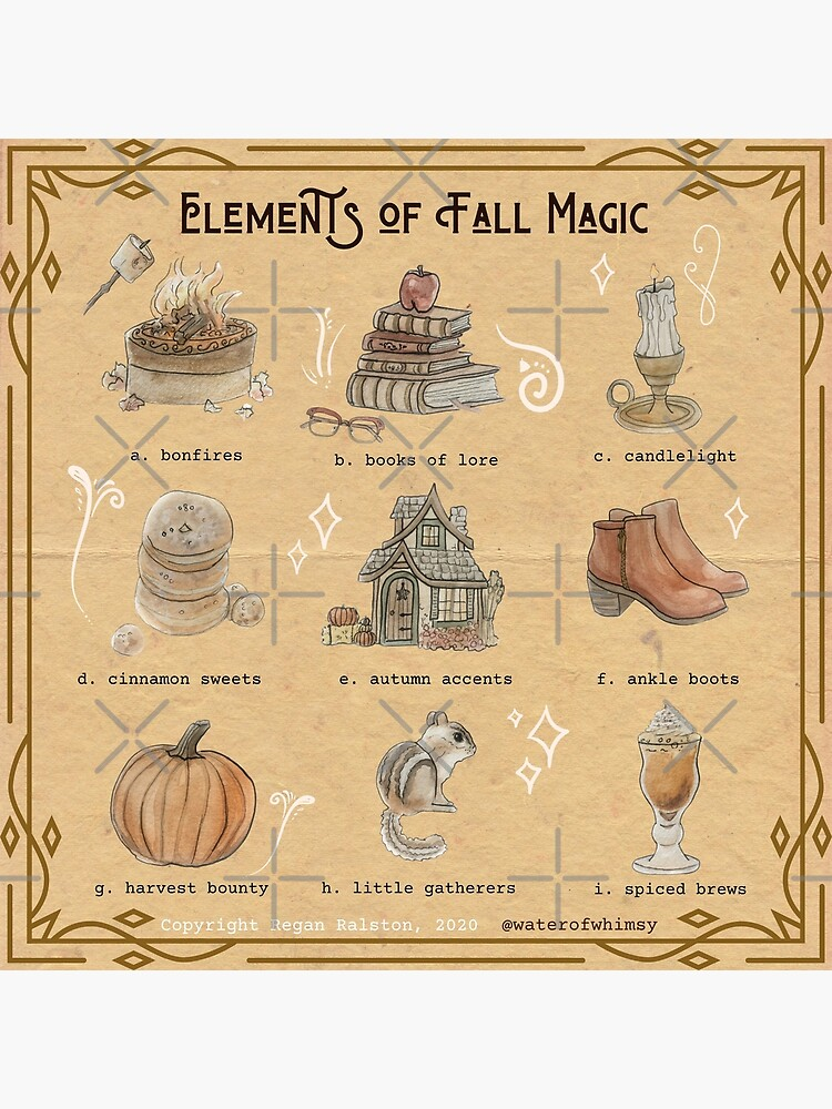 Elements of Fall Magic Illustration in Watercolor by WitchofWhimsy