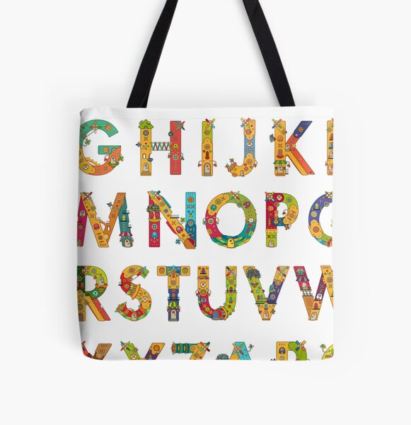 AlphaPod Letters in White All Over Print Tote Bag