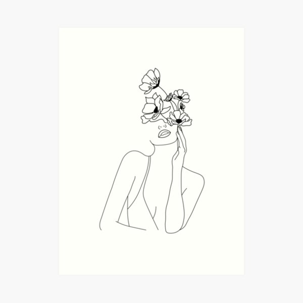 Minimal Line Art Woman With Flowers Art Art Print