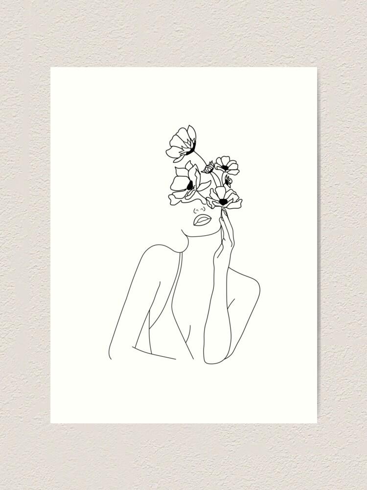 Alternate view of Minimal Line Art Woman With Flowers Art Art Print