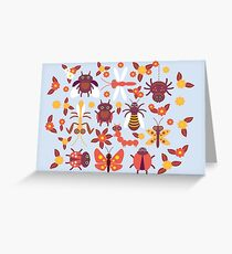 Funny insects Spider butterfly caterpillar dragonfly mantis beetle wasp ladybugs  Greeting Card