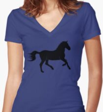 Horse Silhouette Women's Fitted V-Neck T-Shirt