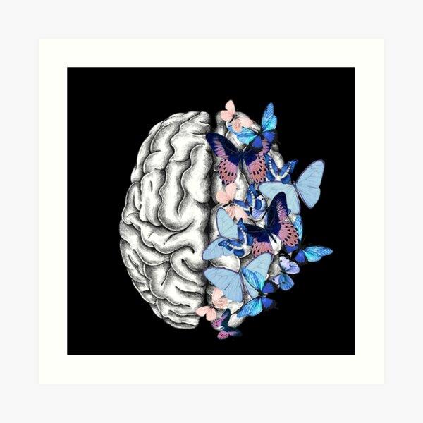 Blue butterflies Mental health brain psychology Art Print