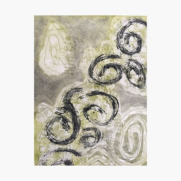 """Organika IV"" Black Olive Gray Fine Art Organic Texture Etching Print Photographic Print"