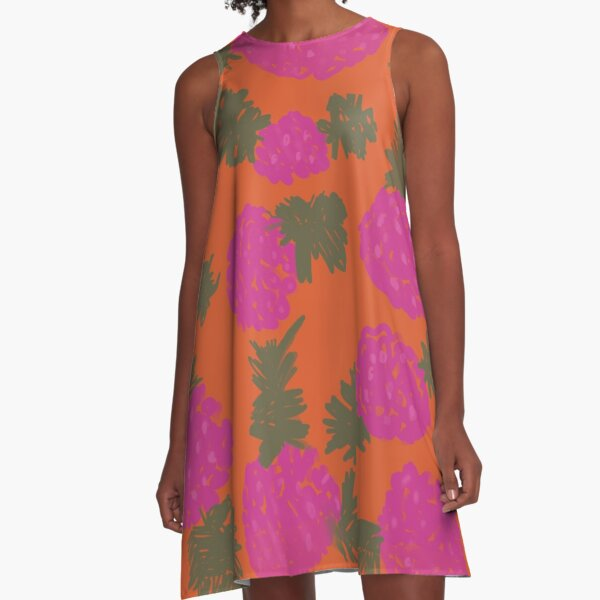 Fuchsia and Orange Flowers A-Line Dress