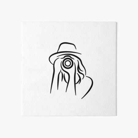 Photographer Minimalist Line Drawing Art Board Print