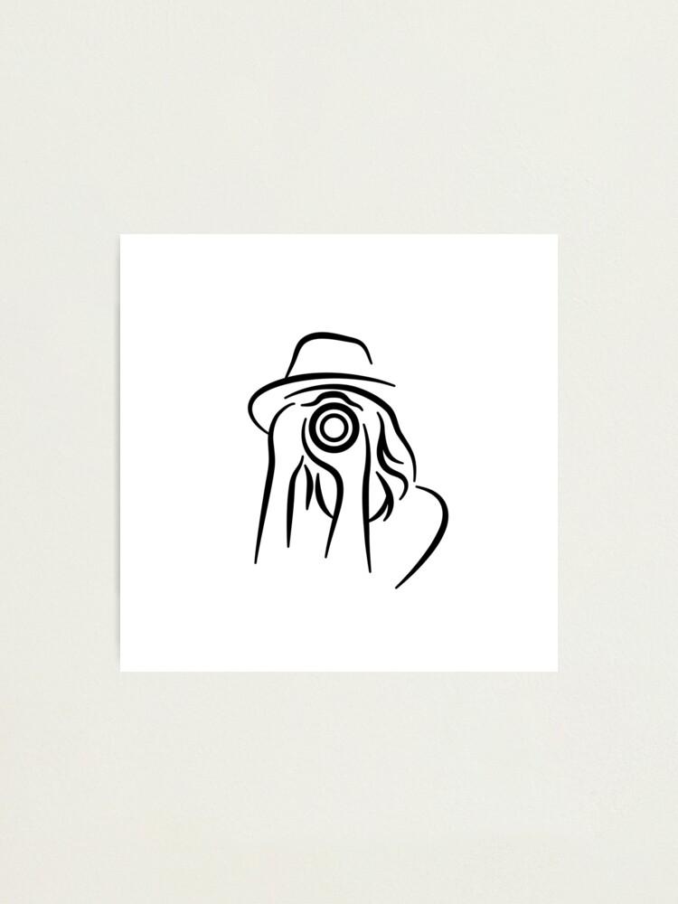 Alternate view of Photographer Minimalist Line Drawing Photographic Print