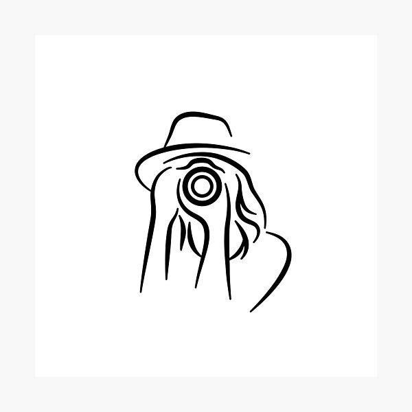Photographer Minimalist Line Drawing Photographic Print