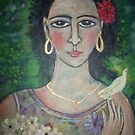 tropical Girl with fruit and flowers( closer view) by catherine walker