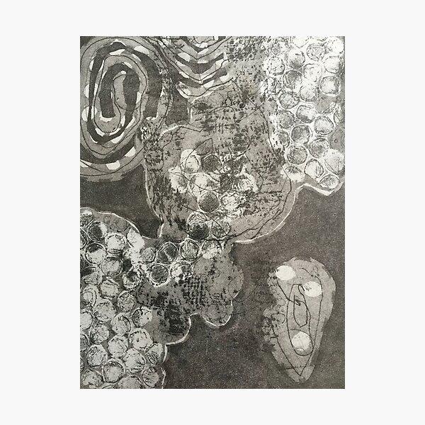 """Organika V"" Black Gray Fine Art Organic Texture Etching Print Photographic Print"