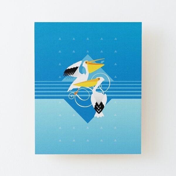 Vögel – Pretty Pelikane Aufgezogener Druck auf Holz