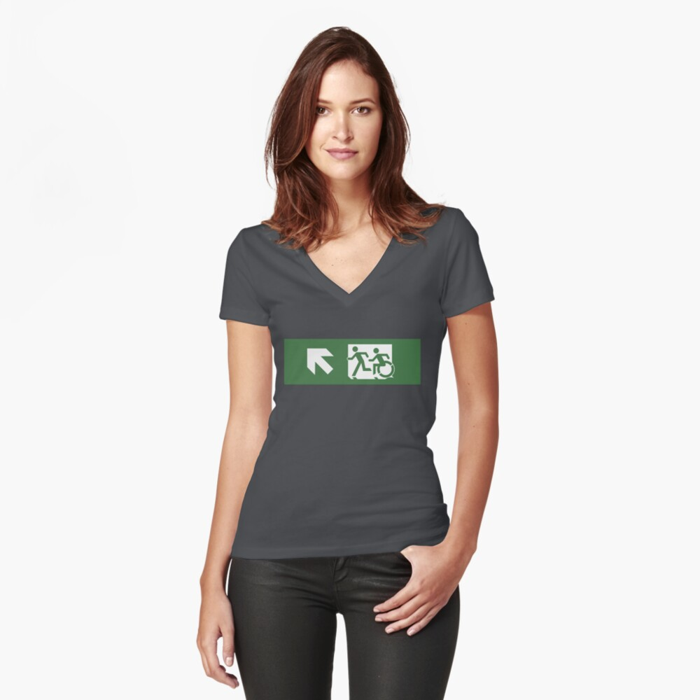 Accessible Means of Egress Icon and Running Man Emergency Exit Sign, Left Hand Diagonally Up Arrow Women's Fitted V-Neck T-Shirt Front