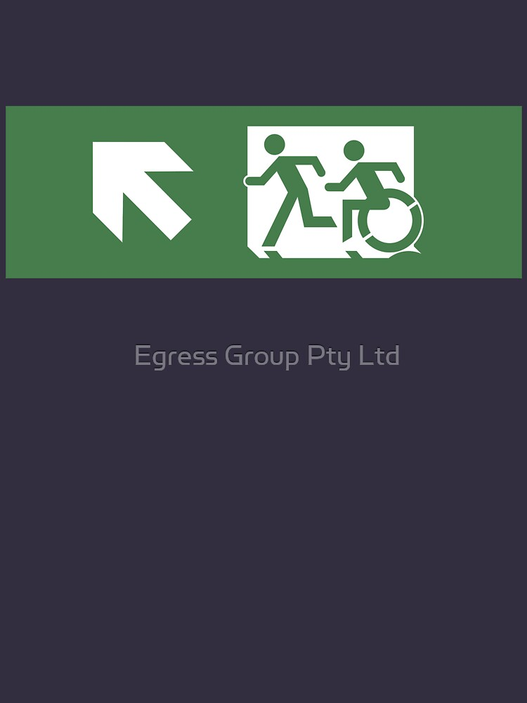 Accessible Means of Egress Icon and Running Man Emergency Exit Sign, Left Hand Diagonally Up Arrow by LeeWilson
