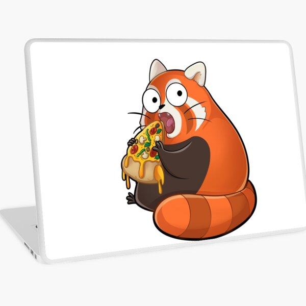 Knuddeliger roter Panda isst einen leckere Pizza Laptop Folie