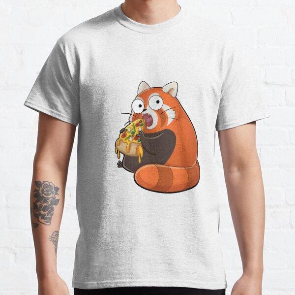 Knuddeliger roter Panda isst einen leckere Pizza Classic T-Shirt