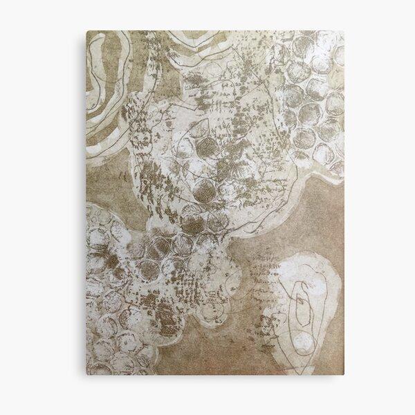 """Organika III"" Brown Ochre Fine Art Organic Texture Etching Print Metal Print"