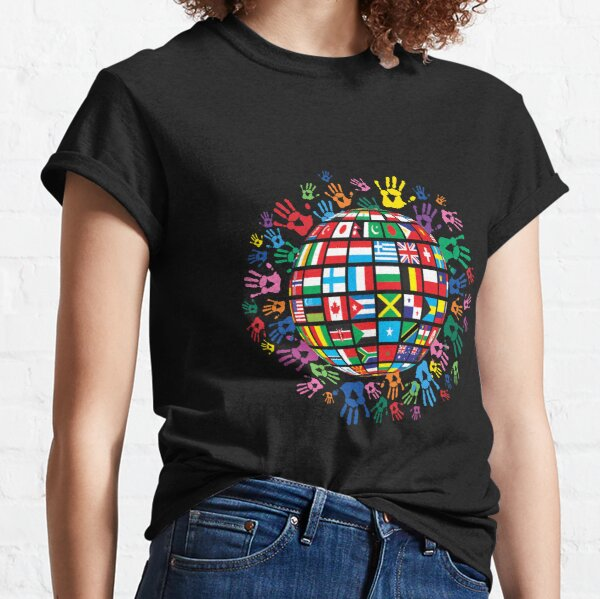 Flags of the World with Colorful Handprints Classic T-Shirt