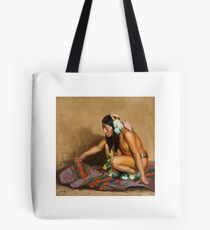 EANGER IRVING COUSE () Indian Examining a Blanket  Tote Bag