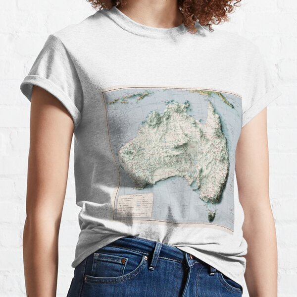 1959 Australia Relief Map 3D digitally-rendered Classic T-Shirt