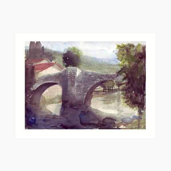 Puente, El punte de la Rabia, Zubiri, Navarra, España Lámina artística