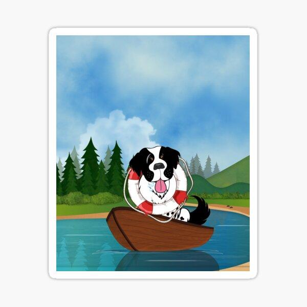 Landseer Boating in the Lake Sticker