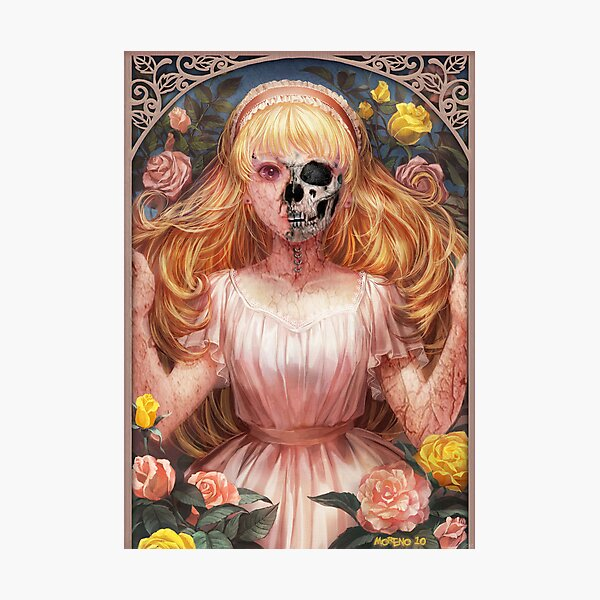 Little Zombie Girl in Garden Photographic Print