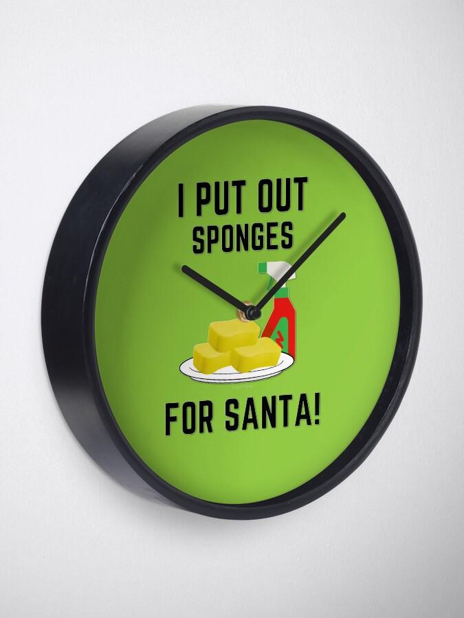 Alternate view of Sponges For Santa, Housekeeping Humor, Christmas Tradition Clock