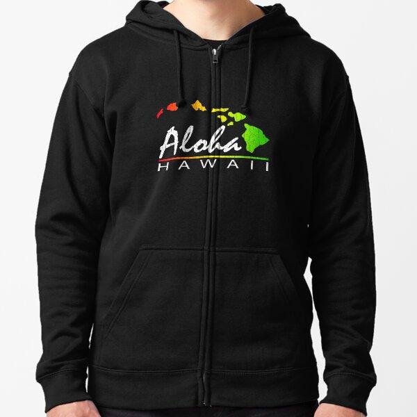 ALOHA - Hawaiian Islands (vintage distressed design) Zipped Hoodie