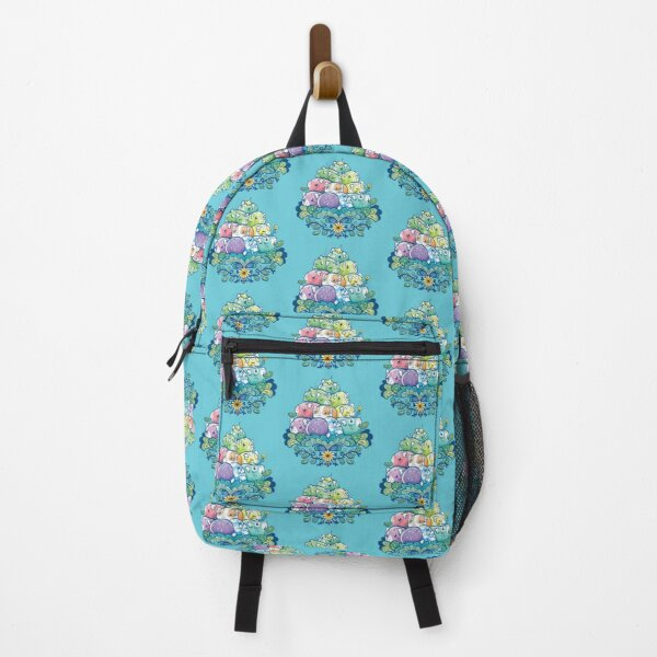 Blooming Piggy Pile in Blue Backpack