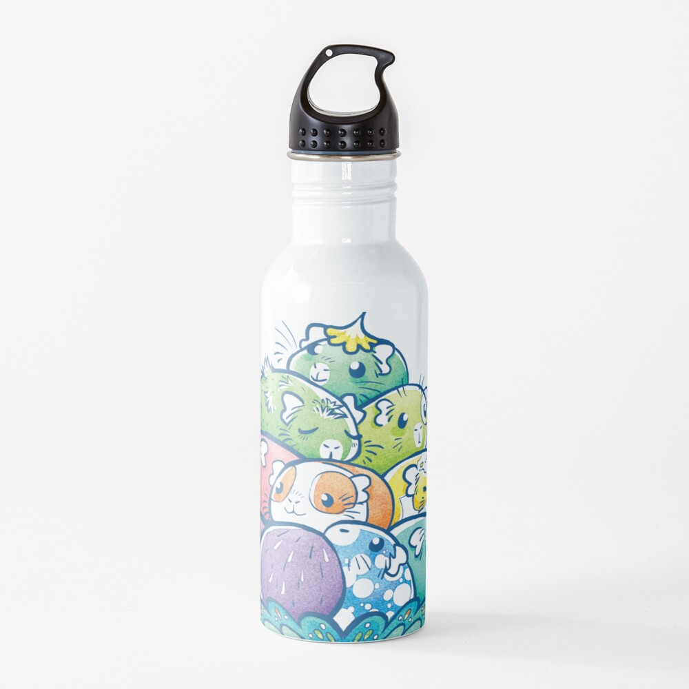 Blooming Piggy Pile in Blue Water Bottle