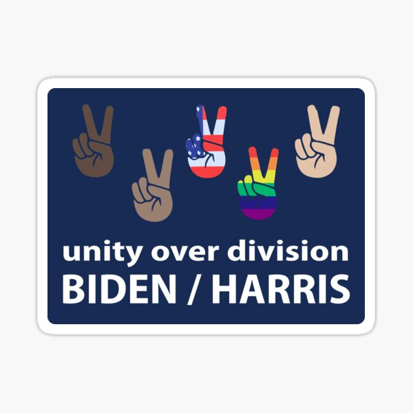 Unity over division Biden / Harris, Political Campaign , Joe Biden Kamala Harris 2020 Sticker