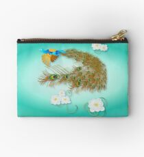 Flying Peacock and Cherry Blossoms Studio Pouch