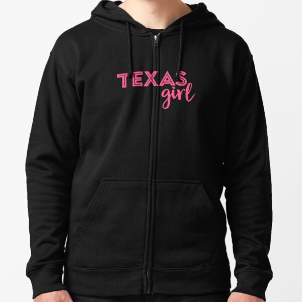 Cute Pink Texas Girl Zipped Hoodie