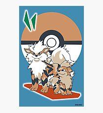 Lámina fotográfica Pokemon Growlithe y Arcanine