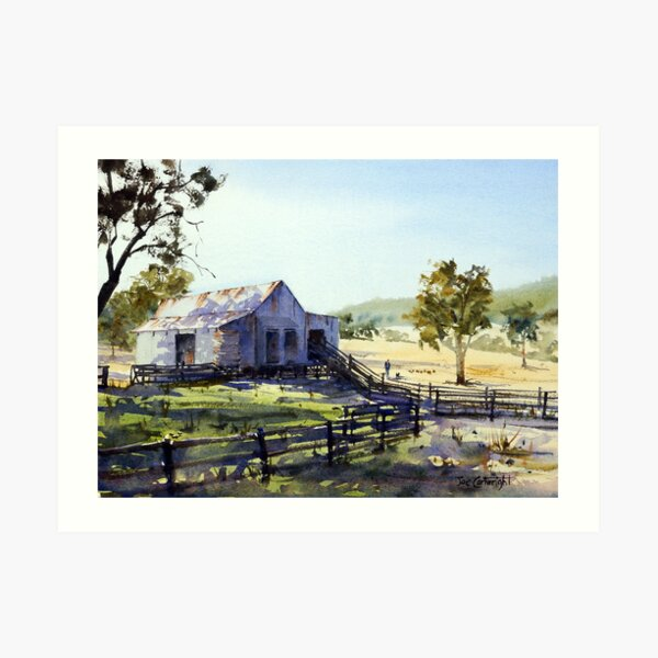Farm Shed - Morning Light and Shadows Art Print