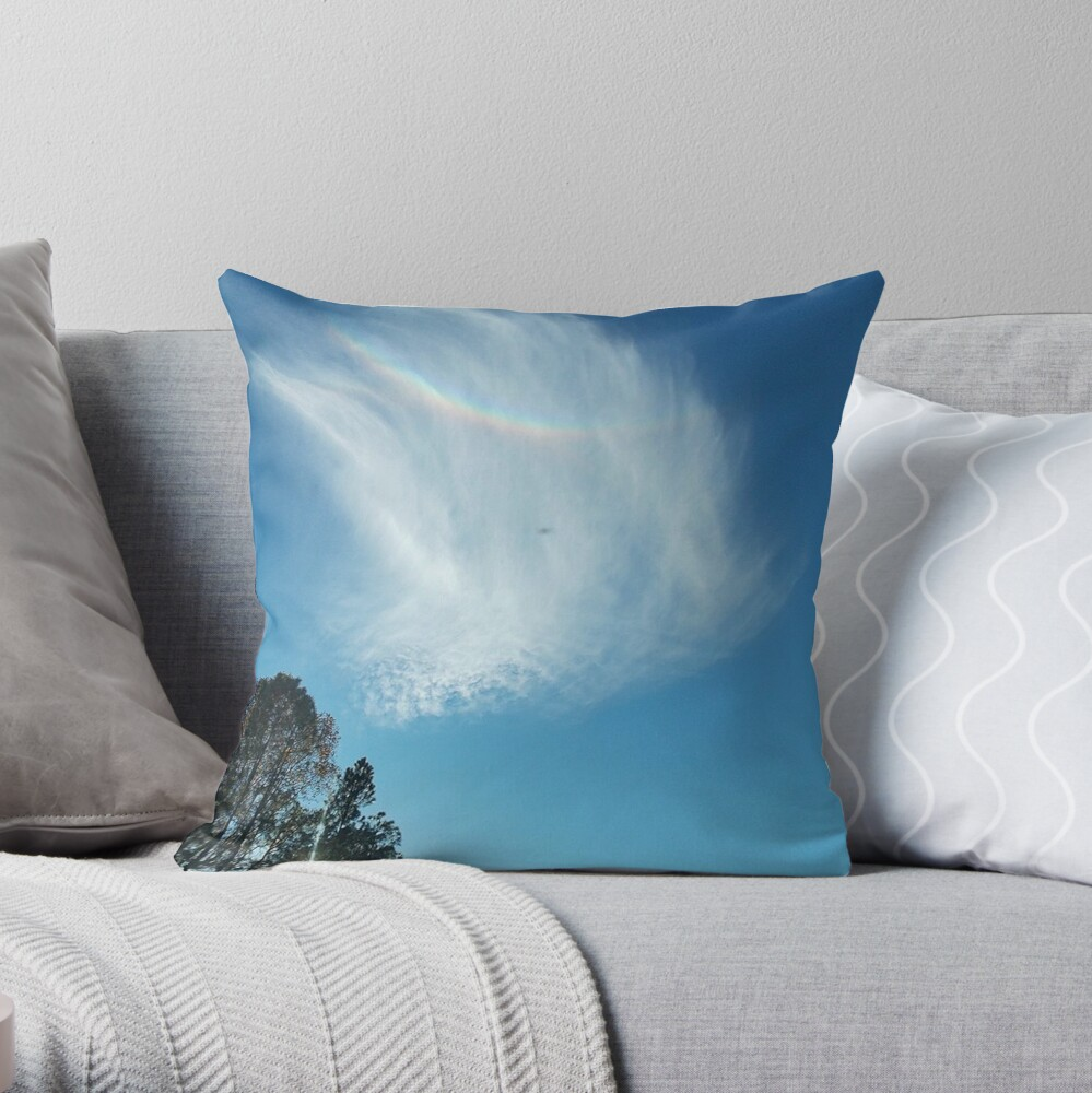 Rainbow Angel Cloud Windows From Heaven Throw Pillow