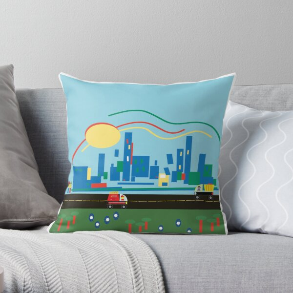 Come And Visit Us In The City Throw Pillow