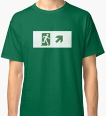 Running Man Emergency Exit Sign, Right Hand Diagonally Up Arrow Classic T-Shirt
