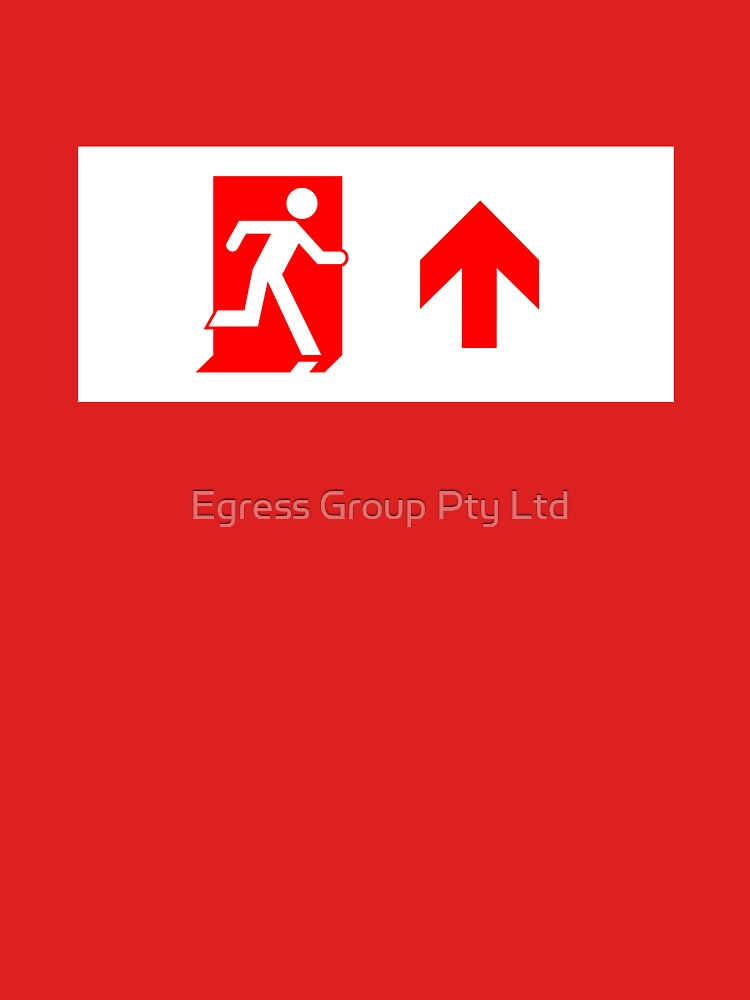 Running Man Emergency Exit Sign, Right Hand Up Arrow by LeeWilson